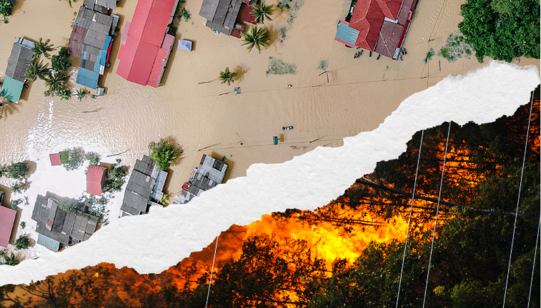 Image showing flooding and fires